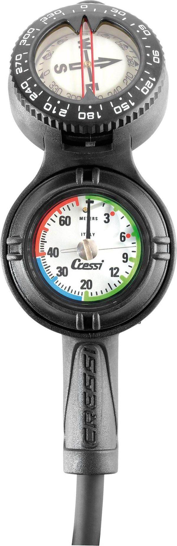 Consola de Buceo Cressi CPD3 – Compás (Brújula), Manómetro y Profundímetro frente