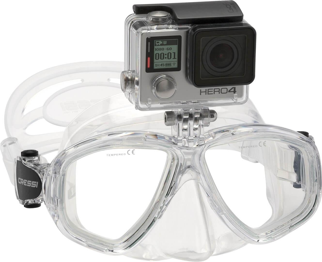 Máscara con soporte para Cámara tipo GoPro. Modelo Cressi Action